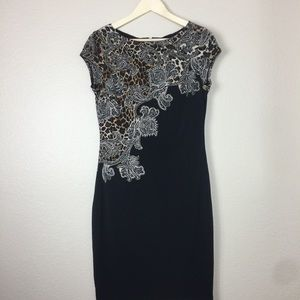 Cache Dress Cheetah Pattern Short Sleeve Size Med